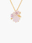 Yes I Do Pink flowers on faceted stone pendant necklace