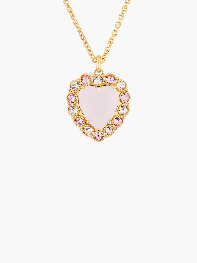 Yes I Do Pink heart with crystals in shades of pink pendant necklace