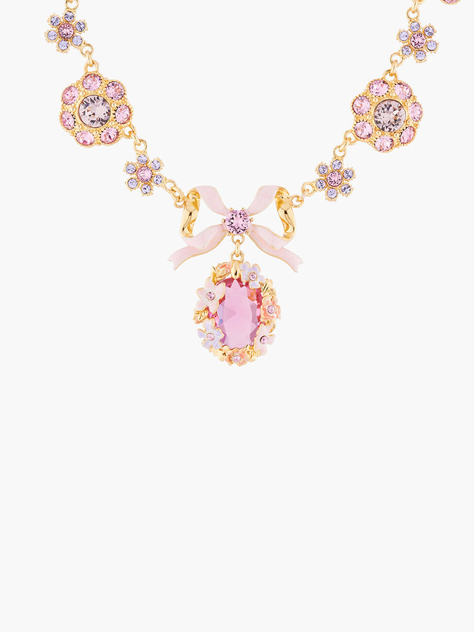 Yes I Do Shades of pink crystals  pendant necklace