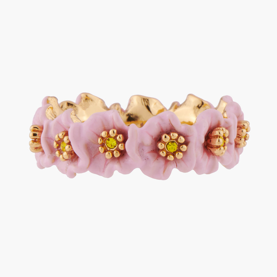 Enchanted Encounter Pink Flowers and Golden Pistils Thin Ring - Pink