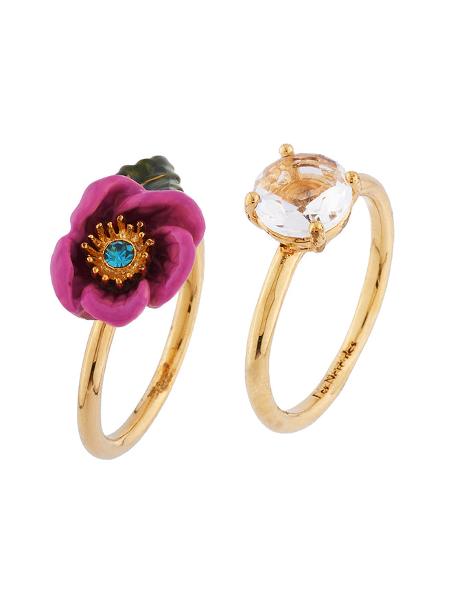 Flowers Symphony Pink Flower with a Rhinetsone Pistil and Faceted Glass Set of Two Rings - Pink Alternate View