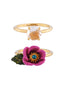 Flowers Symphony Pink Flower with a Rhinetsone Pistil and Faceted Glass Set of Two Rings - Pink