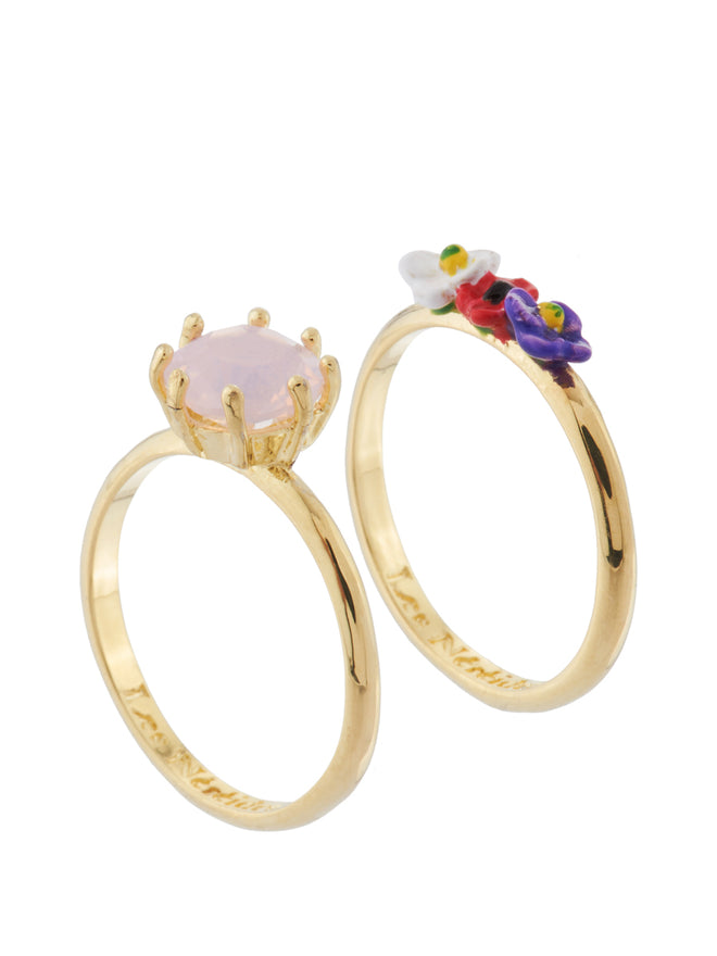 From Paris with Love Stone and Little Flowers Set of 2 Rings - Pink Alternate View