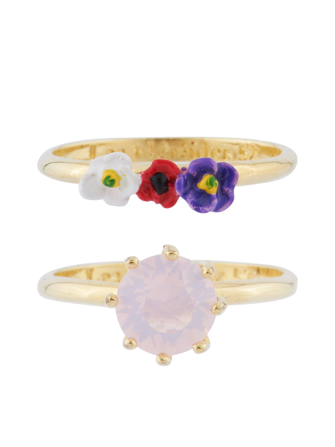 From Paris with Love Stone and Little Flowers Set of 2 Rings - Pink