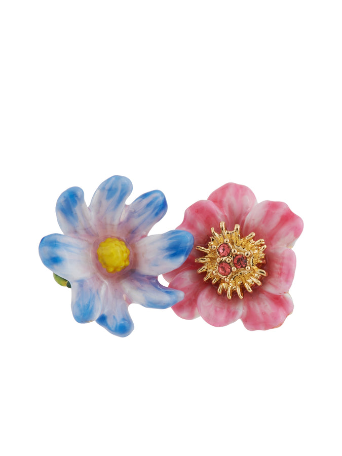 Giverny In Winter Blue and Pink Flower Adjustable Ring