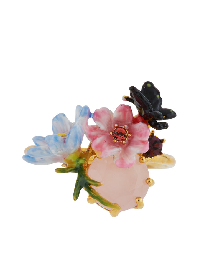 Giverny In Winter Flowers, Butterfly and Faceted Glass Adjustable Ring