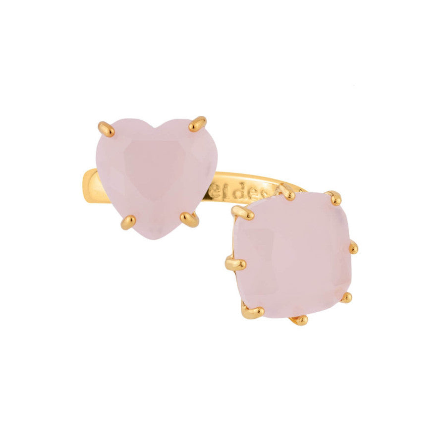 La Diamantine Pink Heart and Sqaure Stones You and I Ring