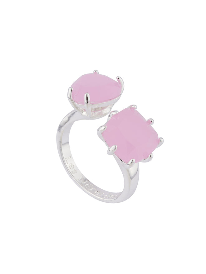 La Diamantine Pink heart and square stones La Diamantine You and I ring Alternate View