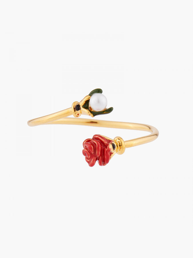 Red Rosebud and Pearl Adjustable Ring