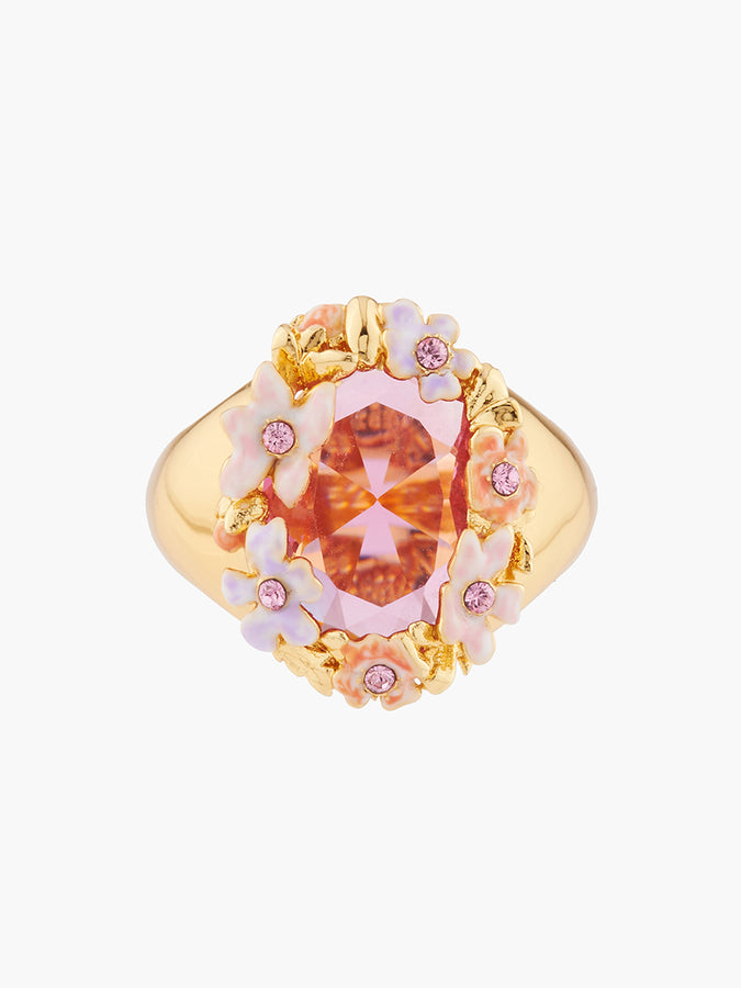 Yes I Do Pink and pale violet flowers on a faceted stone cocktail ring - Pink