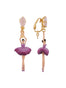 Pas De Deux Plum Blue Toe-Dancing Ballerina Clip Earrings Alternate View