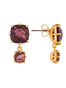 La Diamantine 2 Plum Square Stones Earrings Alternate View