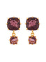 La Diamantine 2 Plum Square Stones Earrings