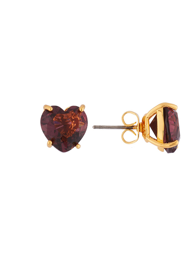 La Diamantine Plum Heart-Shaped Stone Earrings Alternate View
