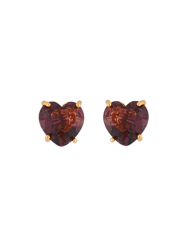 La Diamantine Plum Heart-Shaped Stone Earrings