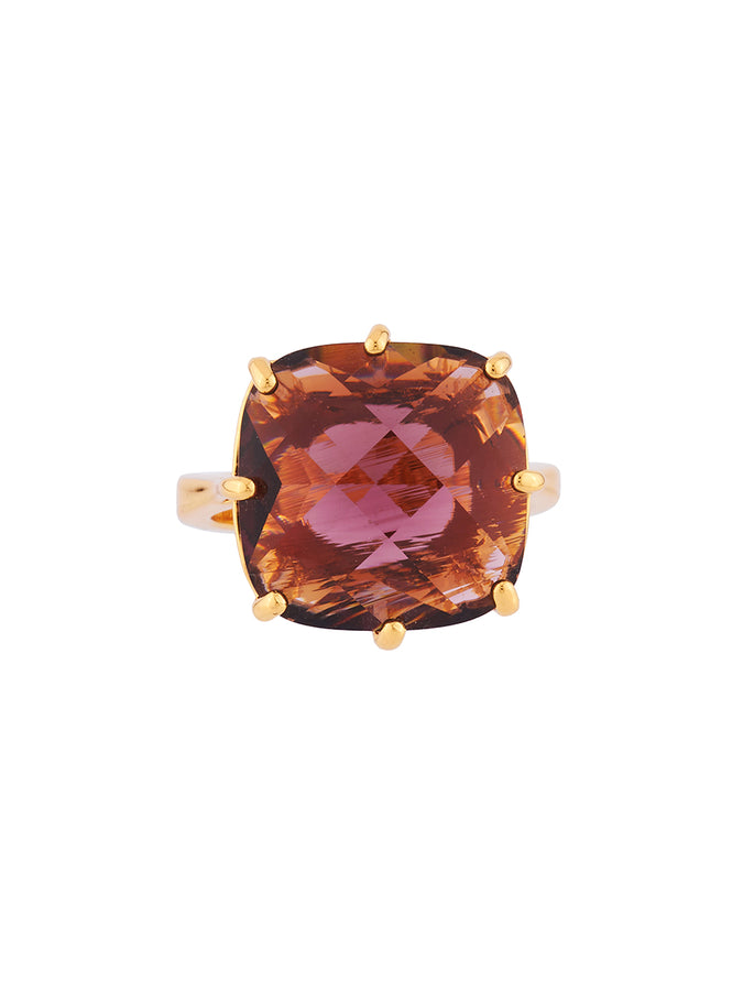 La Diamantine Plum Square Stone Ring - Plum