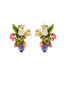 Balad In Versailles Berries Bee on Stone and White Flower Earrings