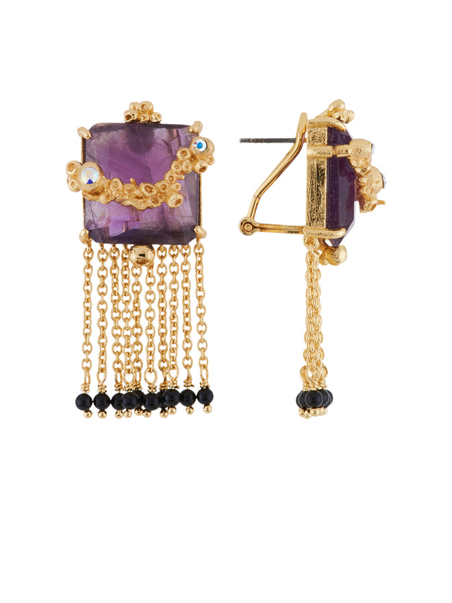 Crystal Vein Square Purple Stone with Chains Earrings Alternate View