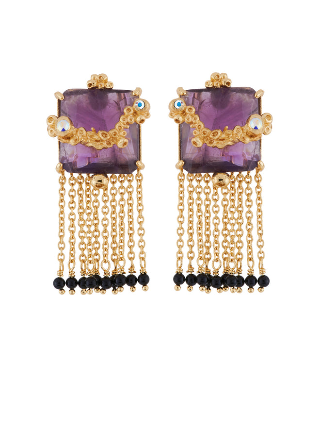 Crystal Vein Square Purple Stone with Chains Earrings