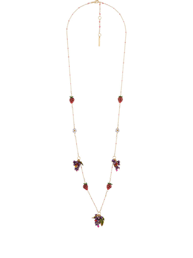 Royal Gardens Bunches of Grapes Strawberries and White Flowers Long Necklace Alternate View