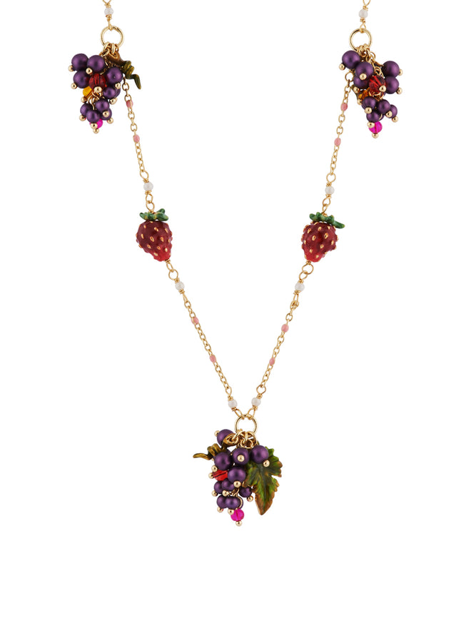 Royal Gardens Bunches of Grapes Strawberries and White Flowers Long Necklace