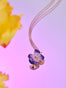 Violetta Violet and Flower Button Pendant Necklace Alternate View