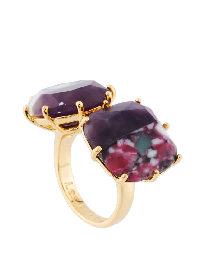 Special La Diamantine 2 Marbled Purple Stones Toi Et Moi Ring - Purple Alternate View