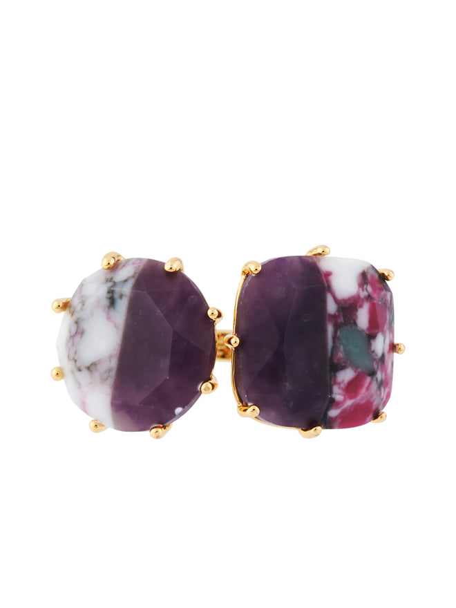 Special La Diamantine 2 Marbled Purple Stones Toi Et Moi Ring - Purple