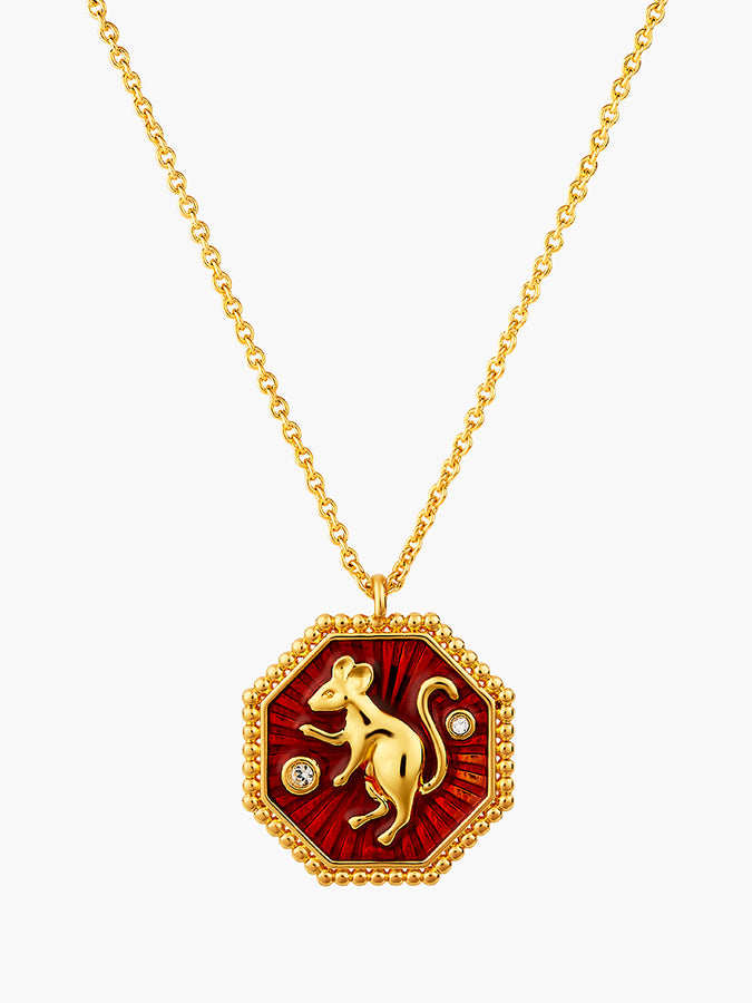 Chinese Zodiac Sign Reversible Pendant Necklace