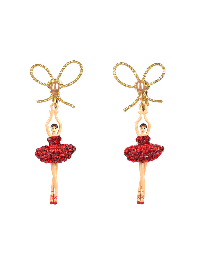 LUXURY PAS DE DEUX RHINESTONE BALLERINA AND PEARL STUD EARRINGS