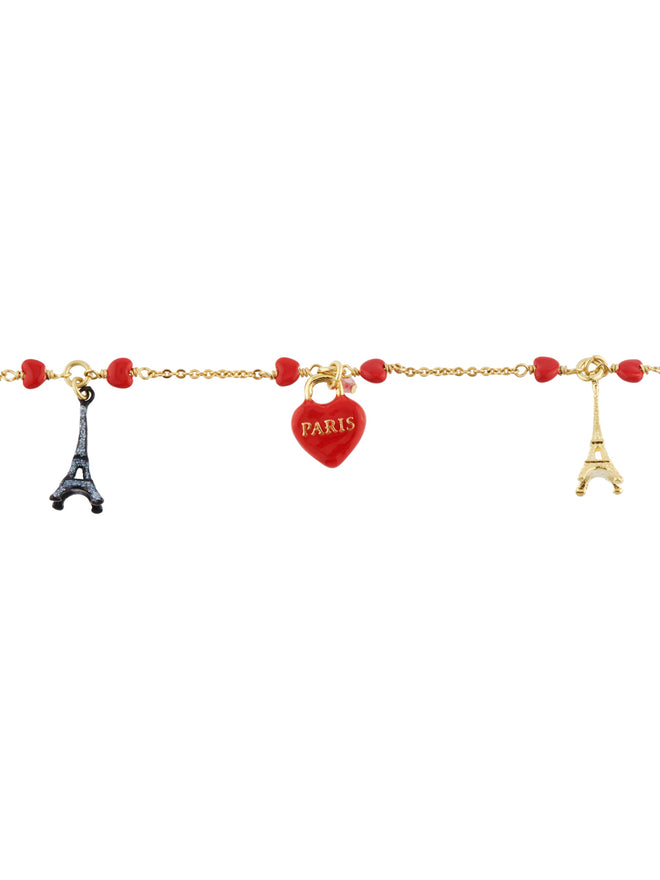From Paris with Love Heart-Shapped Padlocks and Eiffel Towers Bracelet Alternate View