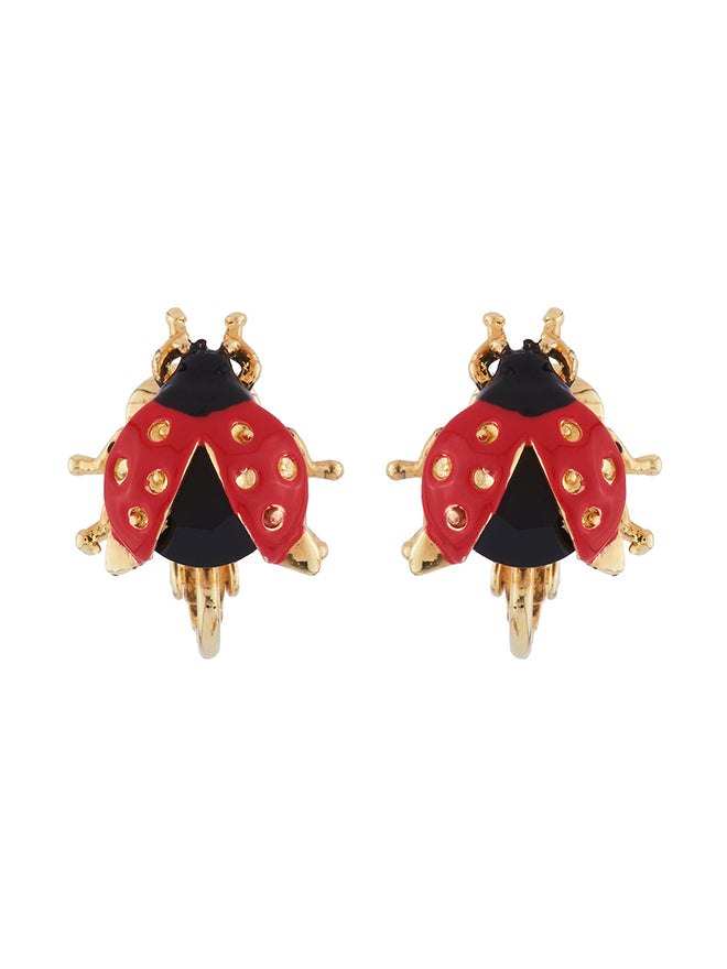 Ostentatious Obscurity Ladybird with golden spots clip earrings