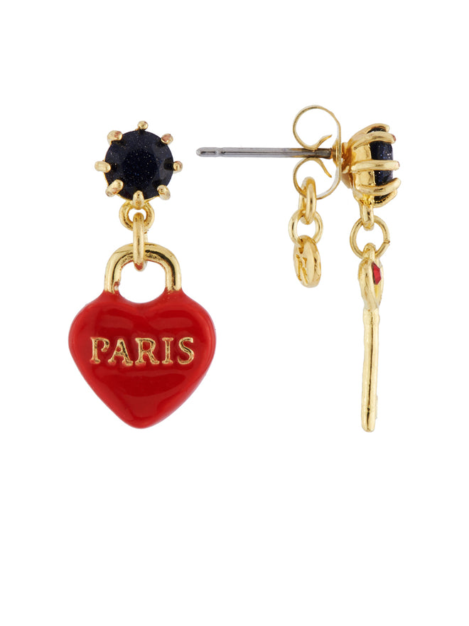 From Paris with Love Heart-Shapped Padlock and Key Asymmetrical Earrings Alternate View