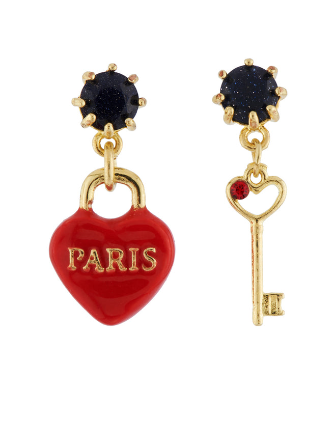 From Paris with Love Heart-Shapped Padlock and Key Asymmetrical Earrings