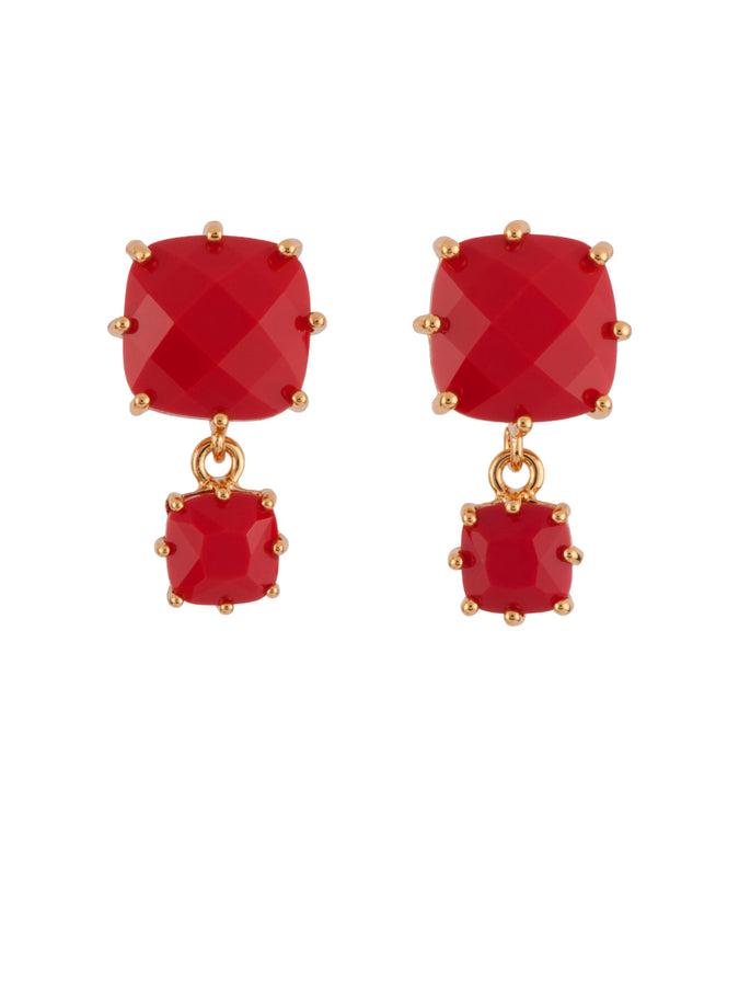 La Diamantine 2 Vermilion Red Square Stones Earrings