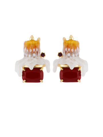 Ostentatious Obscurity Candle on Stone Clip Earrings