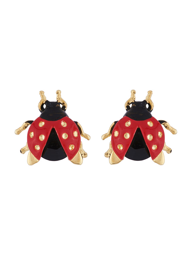 Ostentatious Obscurity Ladybird with golden spots earrings