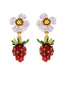 Royal Gardens Strawberry and White Flower Earrings