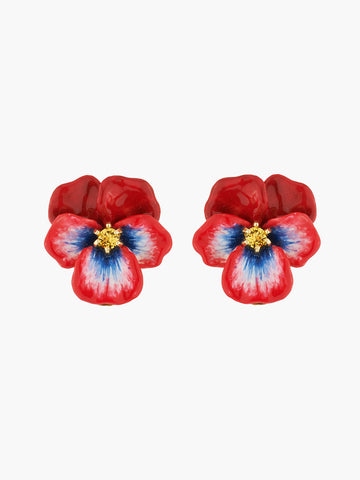 Thousand Pansies Red pansy and faceted crystal stud earrings