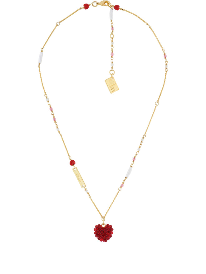 From Paris with Love Heart Paved with Crystal Necklace Alternate View