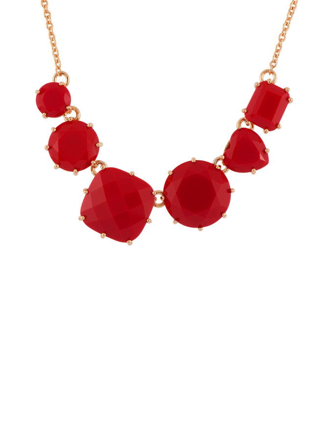 La Diamantine 6 Vermilion Red Stones Necklace