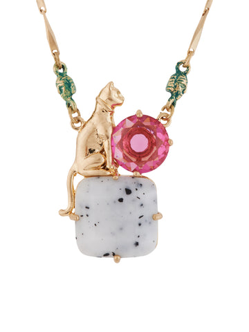 Ostentatious Obscurity Egyptian Cat on Stone Necklace