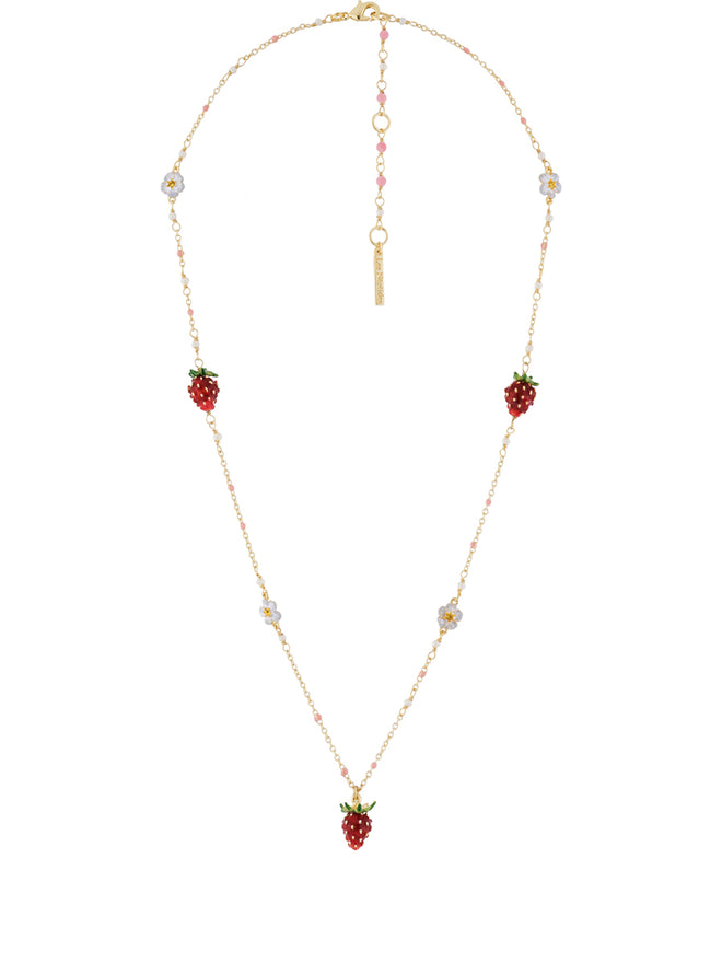 Royal Gardens Multi Strawberries and White Flowers Necklace Alternate View