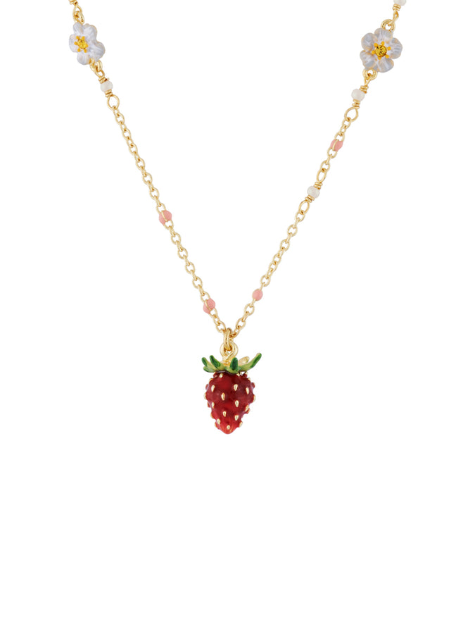 Royal Gardens Multi Strawberries and White Flowers Necklace