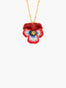 Thousand Pansies Red pansy and faceted crystal long necklace