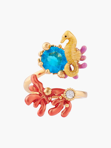 Coral Set Seahorse and Blue Lagoon Crystal Adjustable Ring