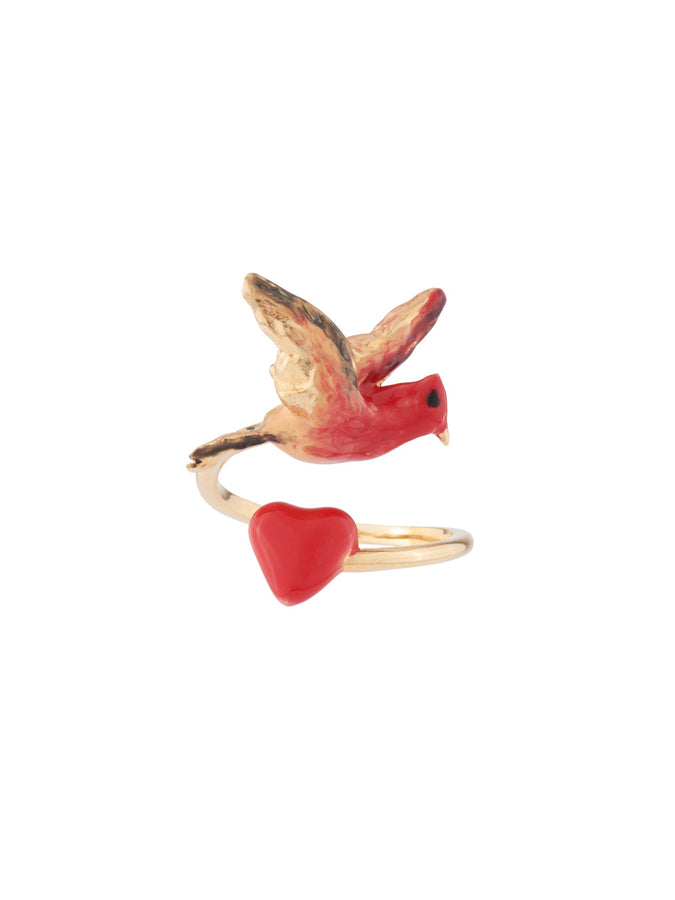 Eternal Love Heart and bird adjustable ring