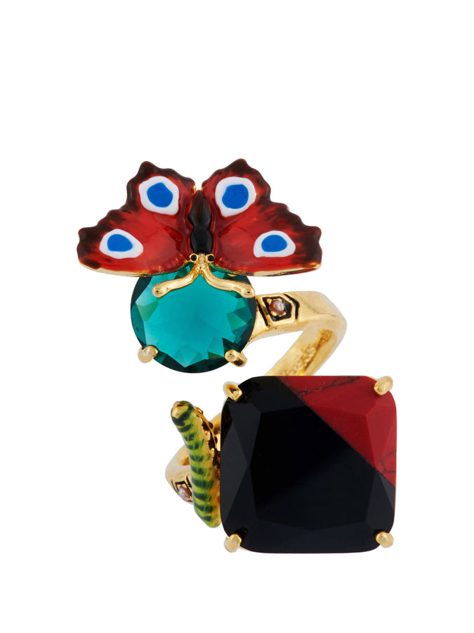 Ostentatious Obscurity Butterfly and Two-Coloured Stone Adjustable Ring