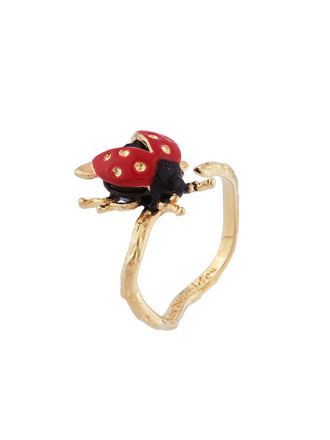 Ostentatious Obscurity Ladybird with golden spots adjustable ring Alternate View