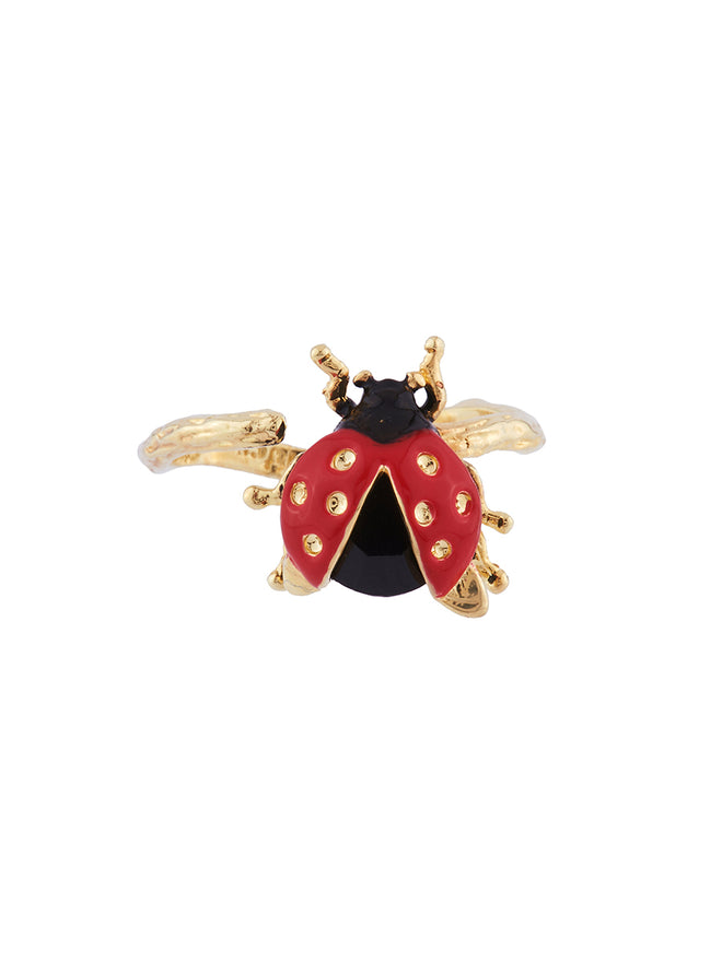 Ostentatious Obscurity Ladybird with golden spots adjustable ring